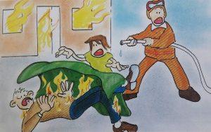 ropa quemada, incendio, sofocar persona ardiendo, fuego